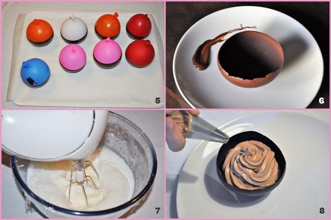 Coppette di cioccolato ripiene di crema alla nutella