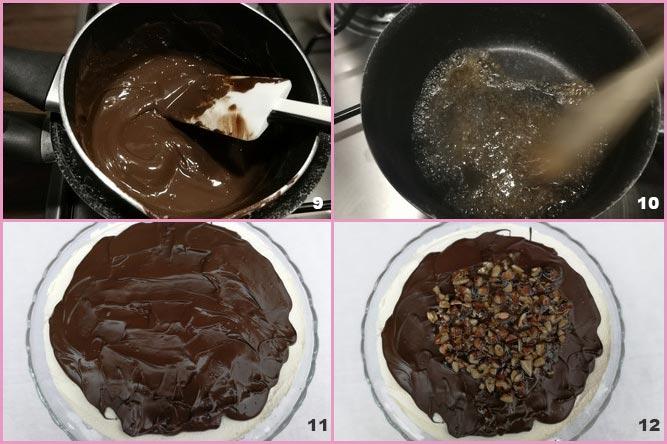 Torta cuore di panna con cioccolato e mandorle caramellate