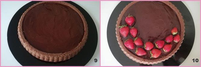 Torta californana al cioccolato fondente e fragole